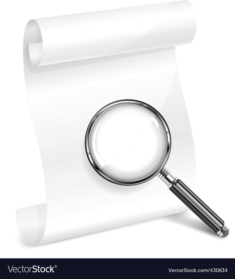 Scroll paper and magnifying vector image