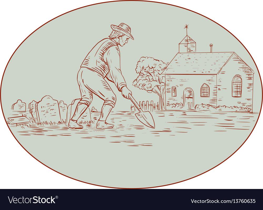 Medieval grave digger shovel oval drawing vector image