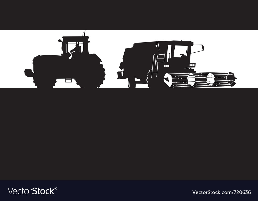 Combine and tractor vector image
