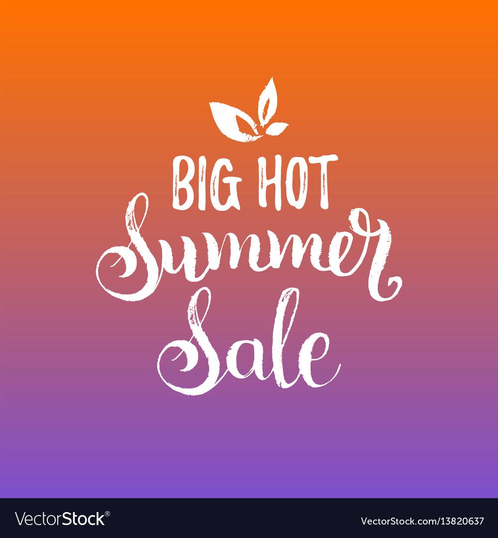 Handwritten big hot summer sale vector image