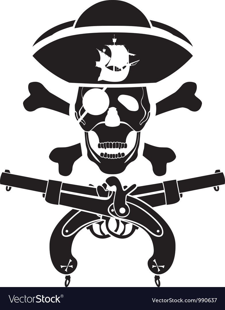 pirate symbol with pistols and skull royalty free vector
