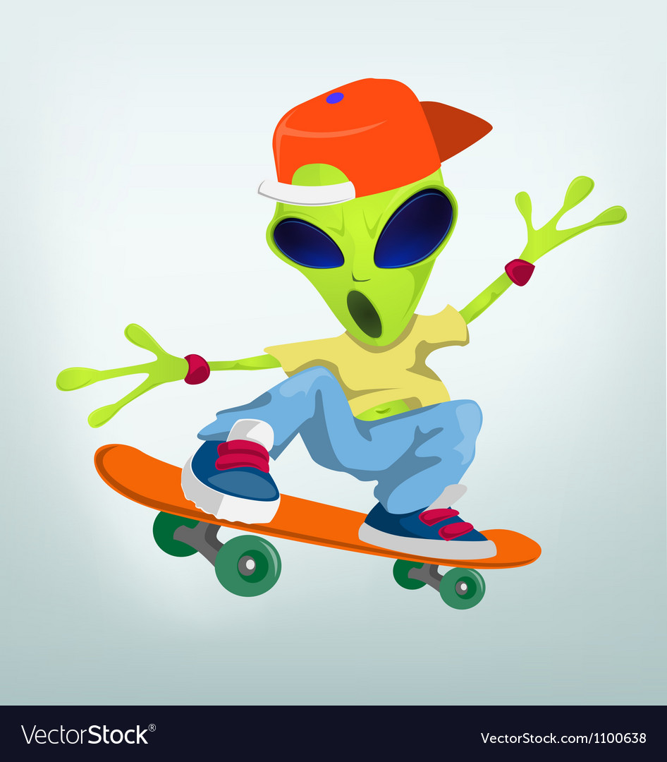 Cartoon Alien Skateboarding vector image