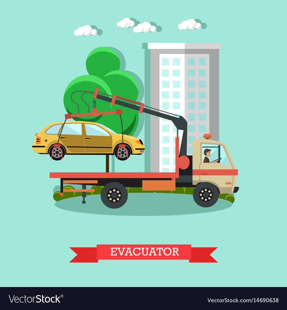 Evacuator concept in flat vector image