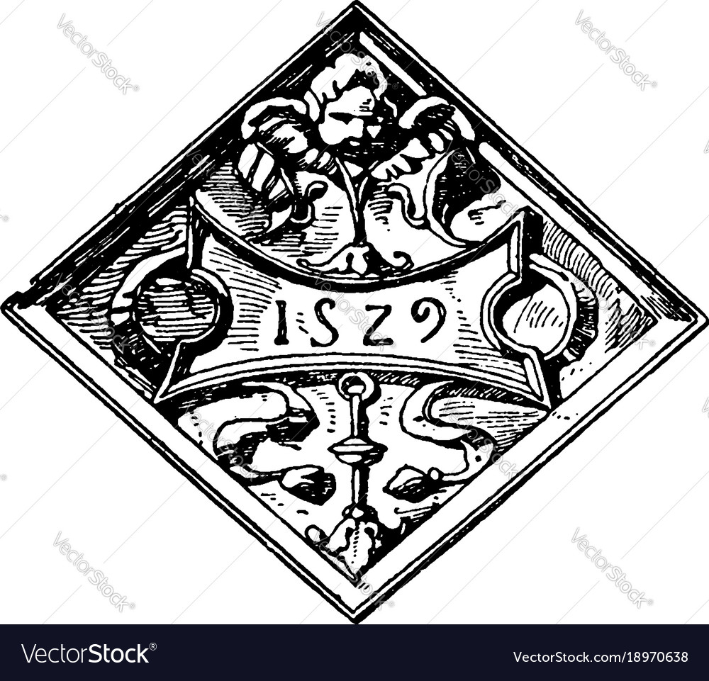 French architectural panel constructed in 1529 vector image