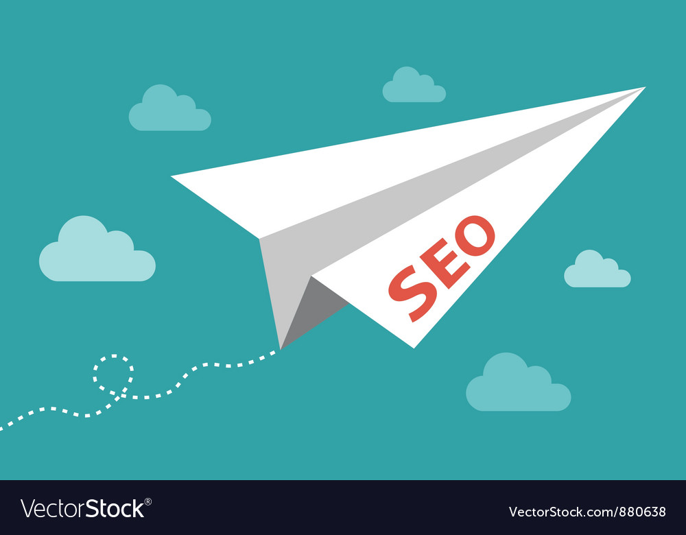 Seo - serach engine optimization plane vector image