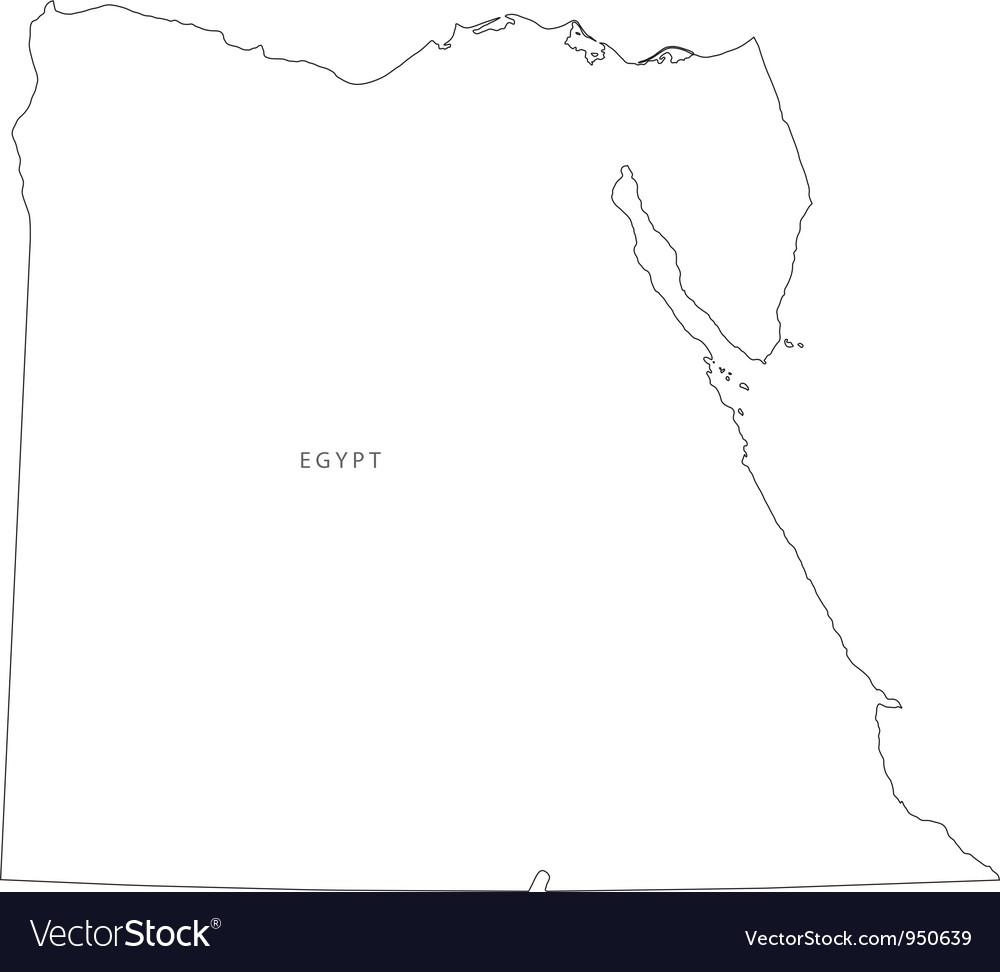 Black White Egypt Outline Map Royalty Free Vector Image - Map of egypt outline