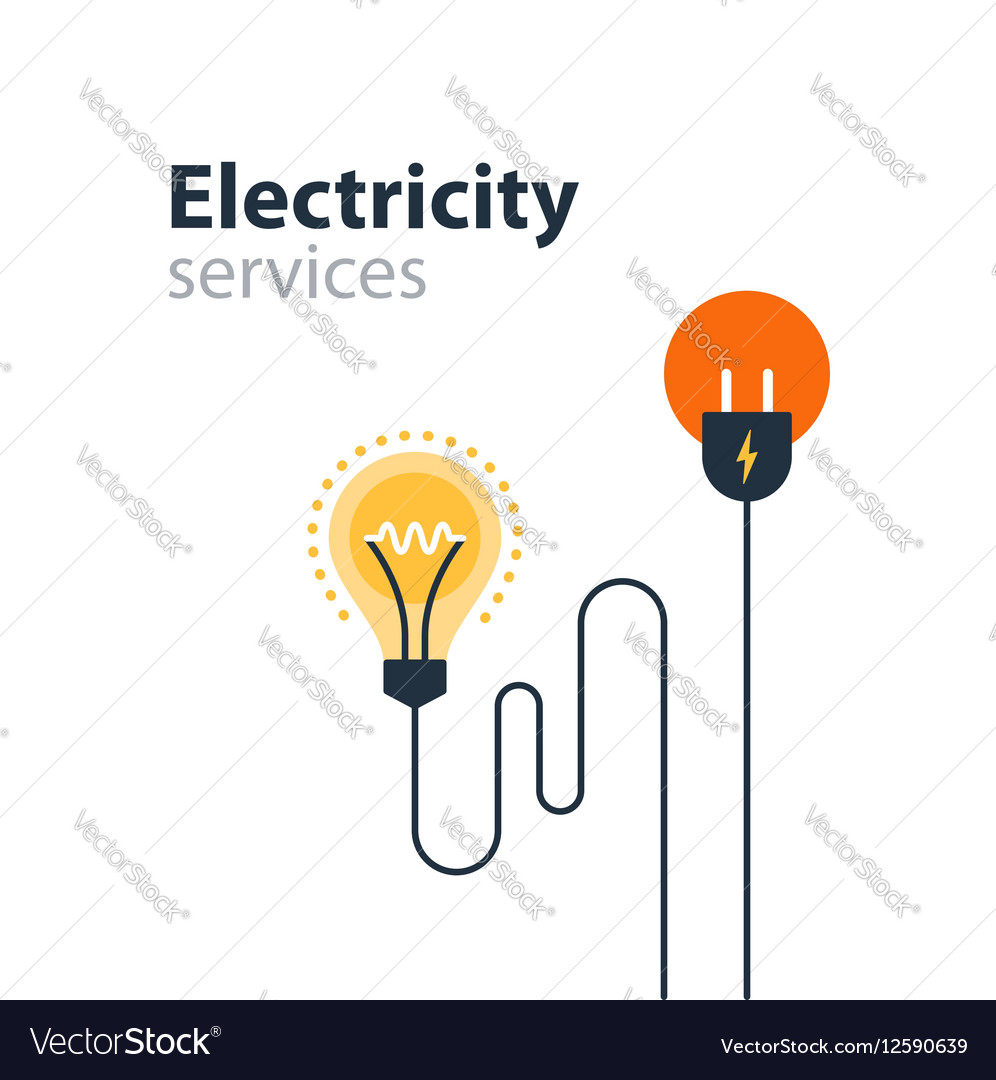 Electricity connection electrical services and vector image