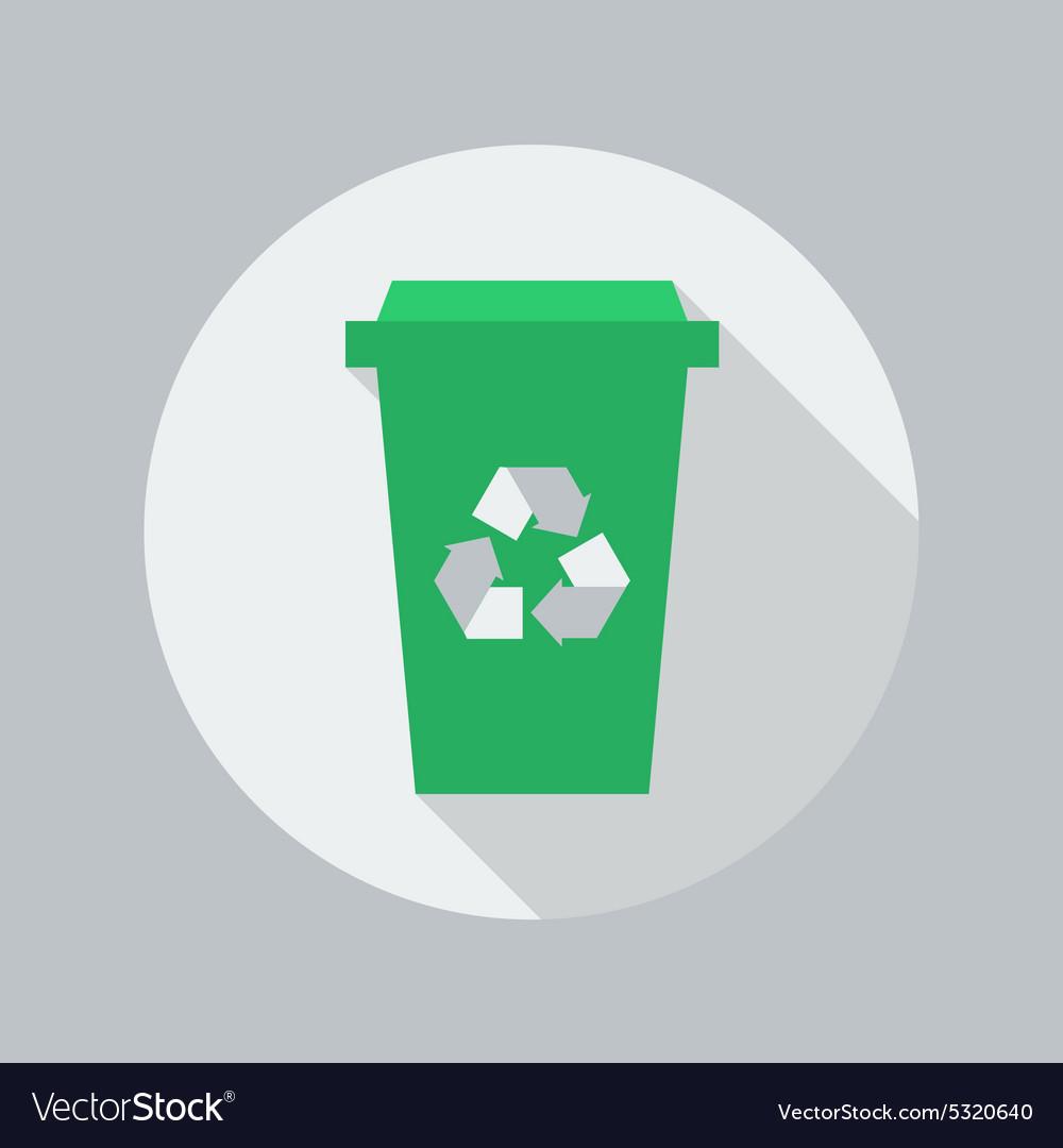 Eco Flat Icon Recycle Bin vector image