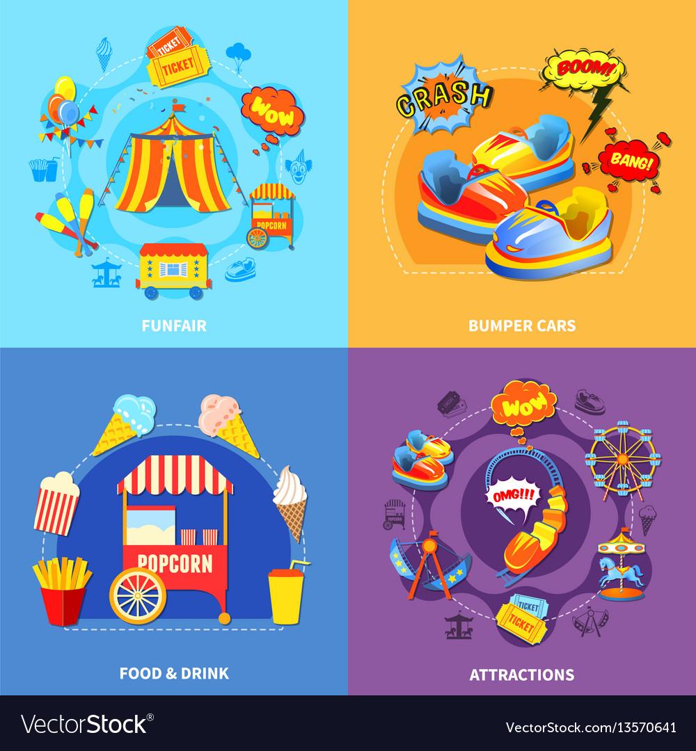 Amusement park 4 flat icons square vector image