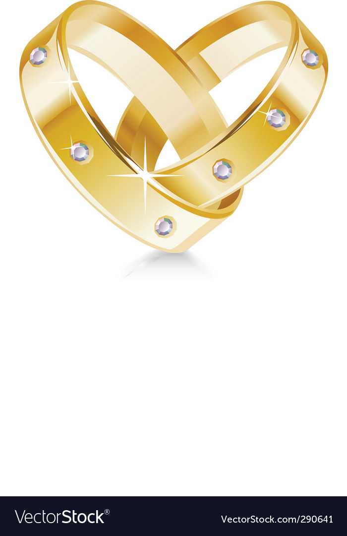 Two wedding rings shaped heart Royalty Free Vector Image