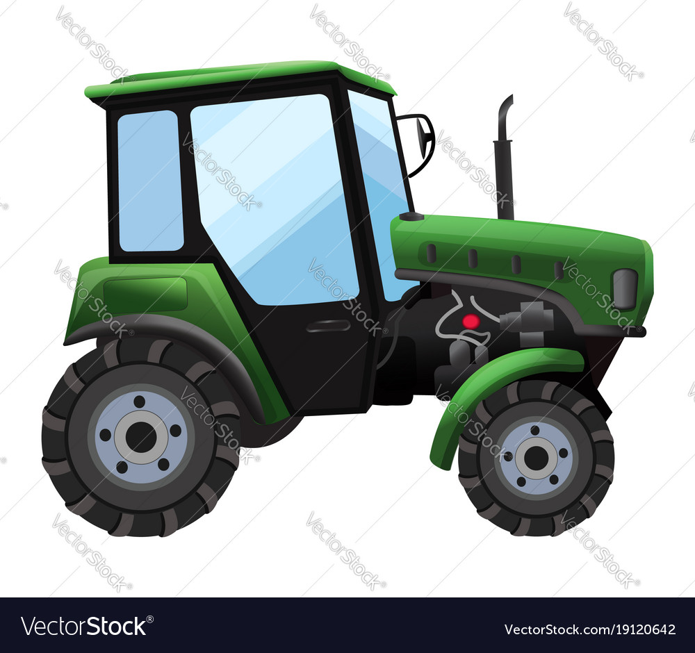 Tractor of green tractor in a vector image