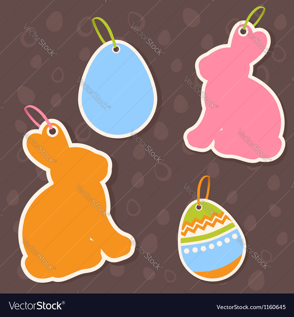 Easter bunny and eggs discount sale stickers vector image