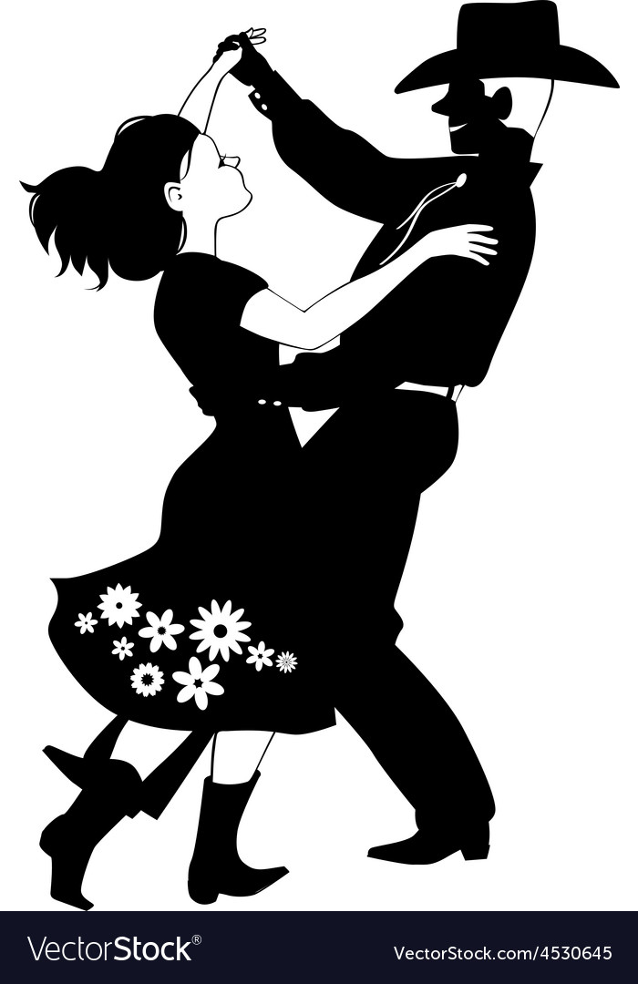 Polka dancers silhouette vector image