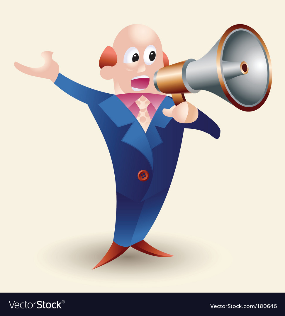 Cartoon man with megaphone vector image