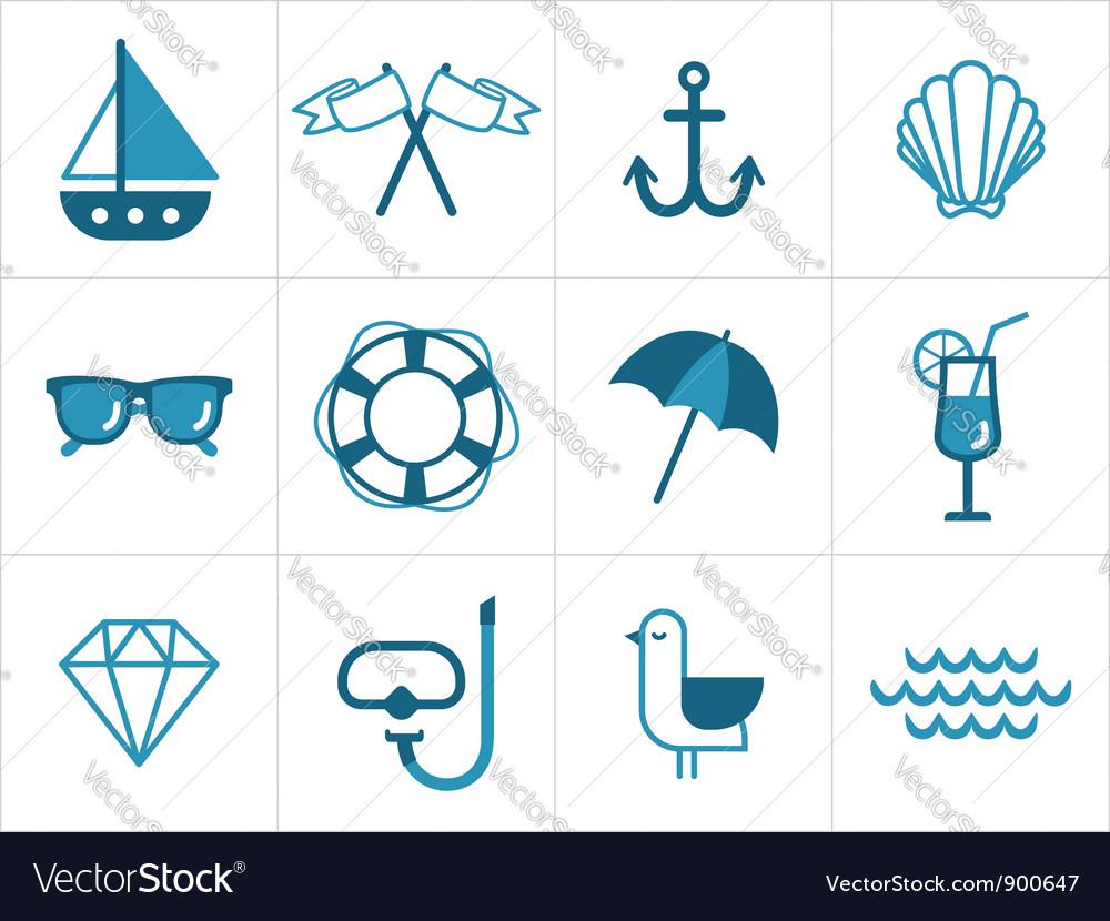 Summer sea icons vector image