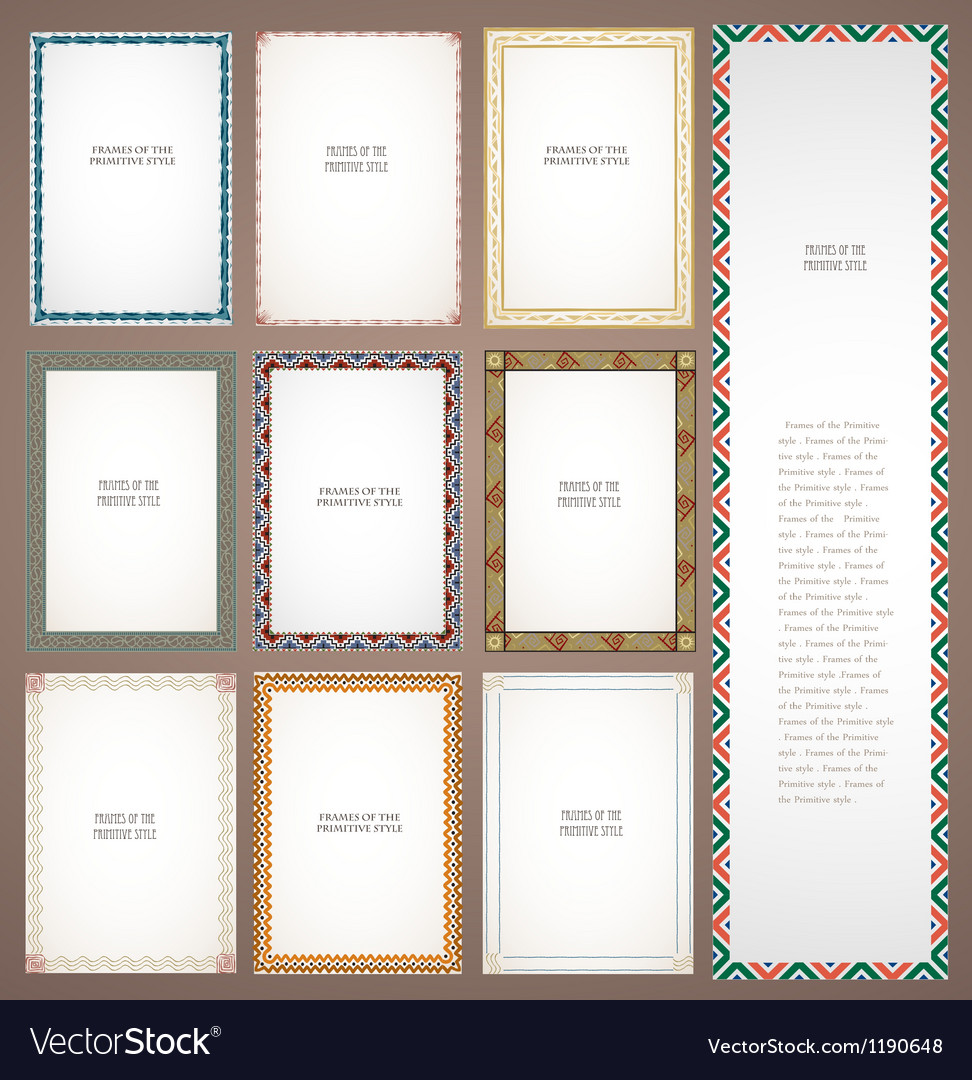 Set frames in tribal style vector image