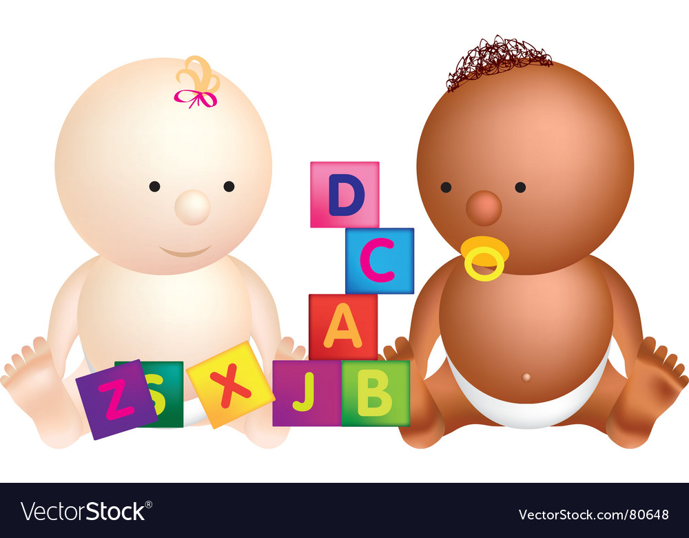 Babies and blocks vector image