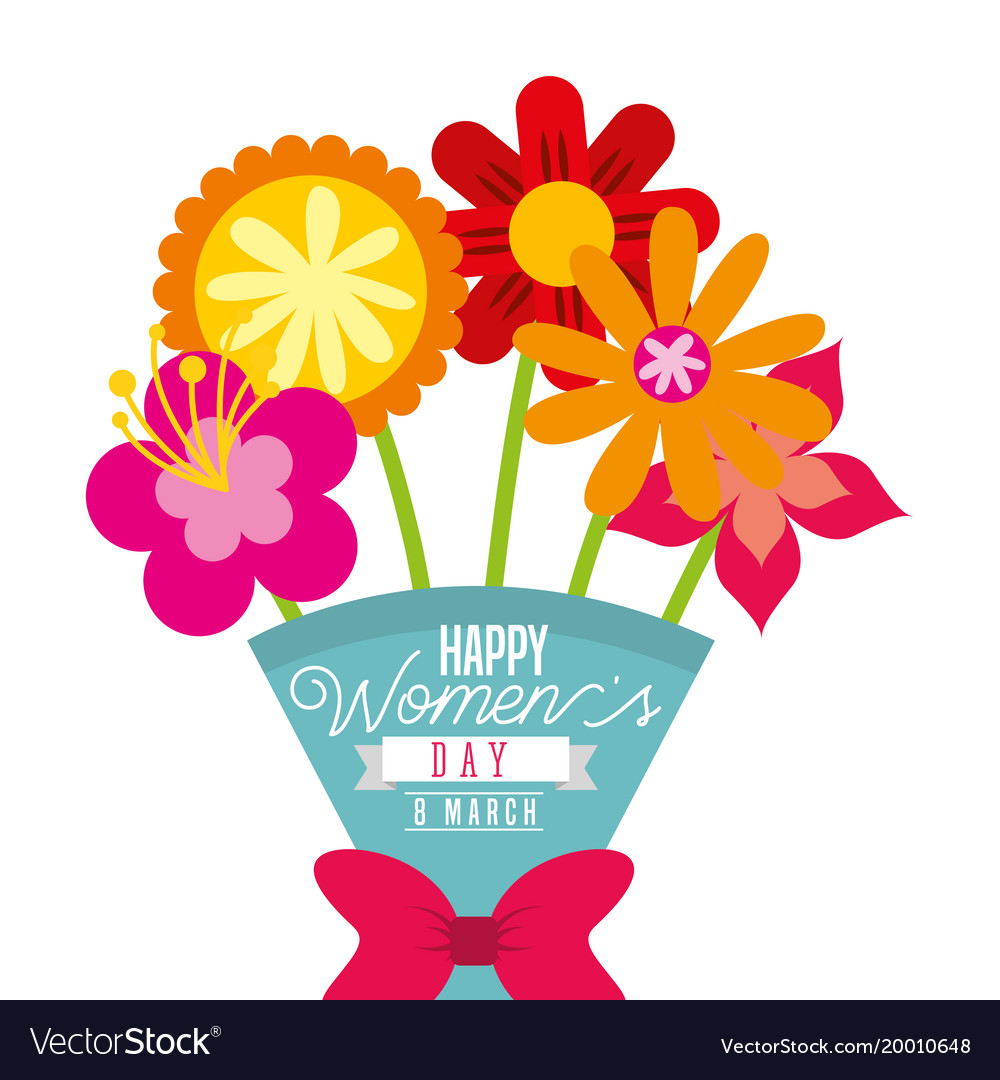 Cartoon bouquet exotic flowers womens day card vector image izmirmasajfo Choice Image