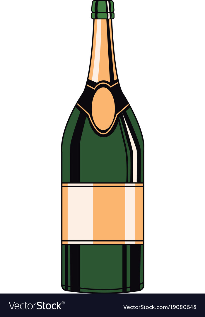 Champagne bottle pop art vector image