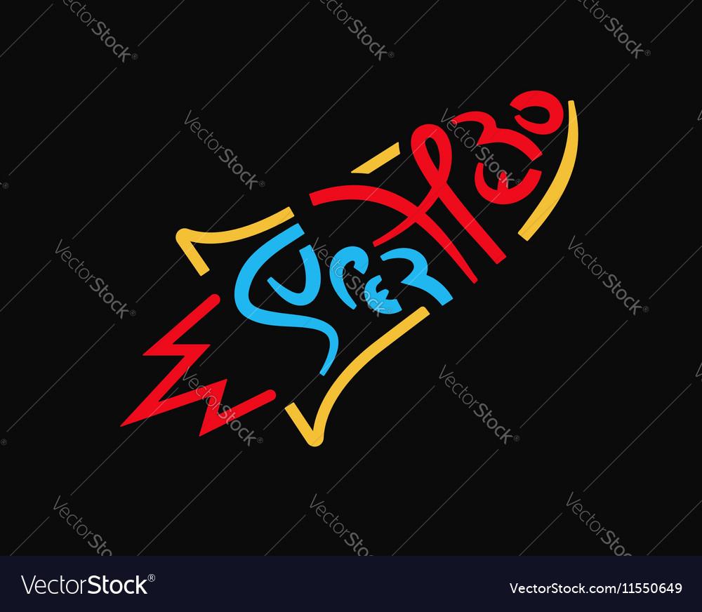 Superhero rocket handwritten text vector image