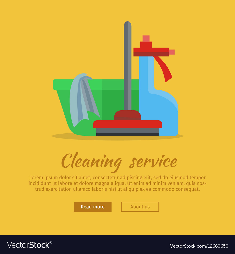 Banner with Basin Duster Broom Glass Cleaner vector image