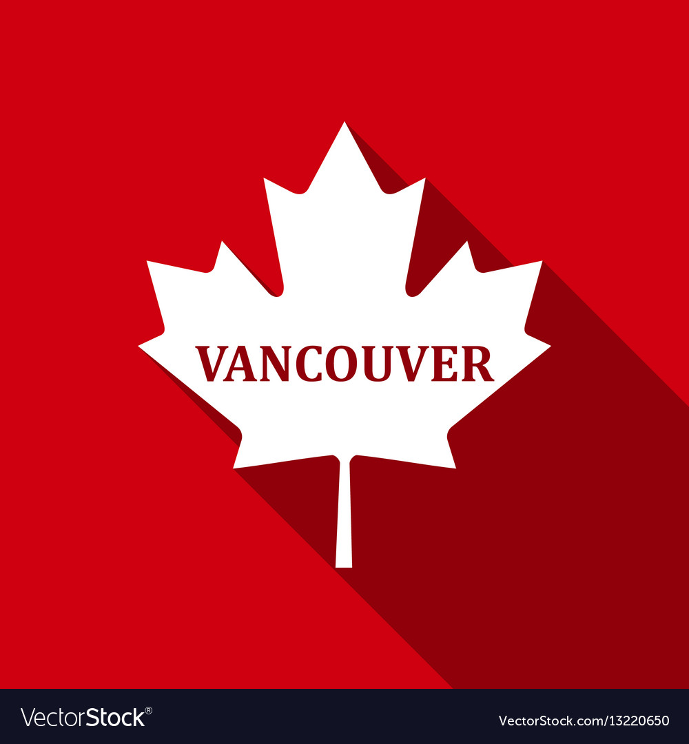 Canadian maple leaf with city name vancouver flat vector image