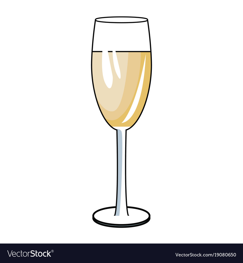 Champagne cup drink pop art vector image
