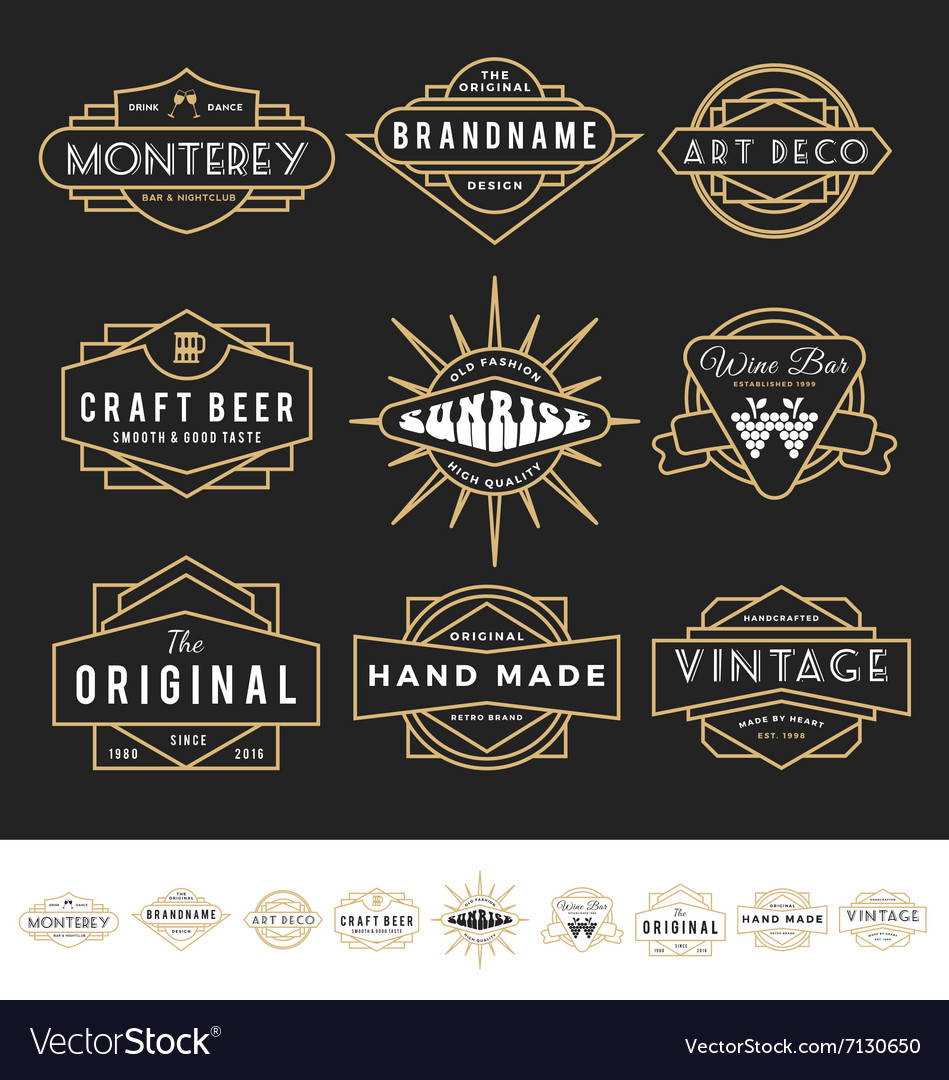 Set of retro badge logo for vintage product vector image
