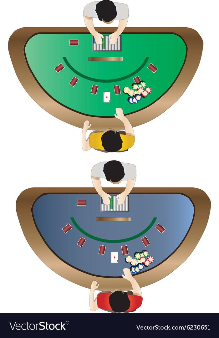 Casino Furniture Blackjack Table Top View Set 3 Vector Image