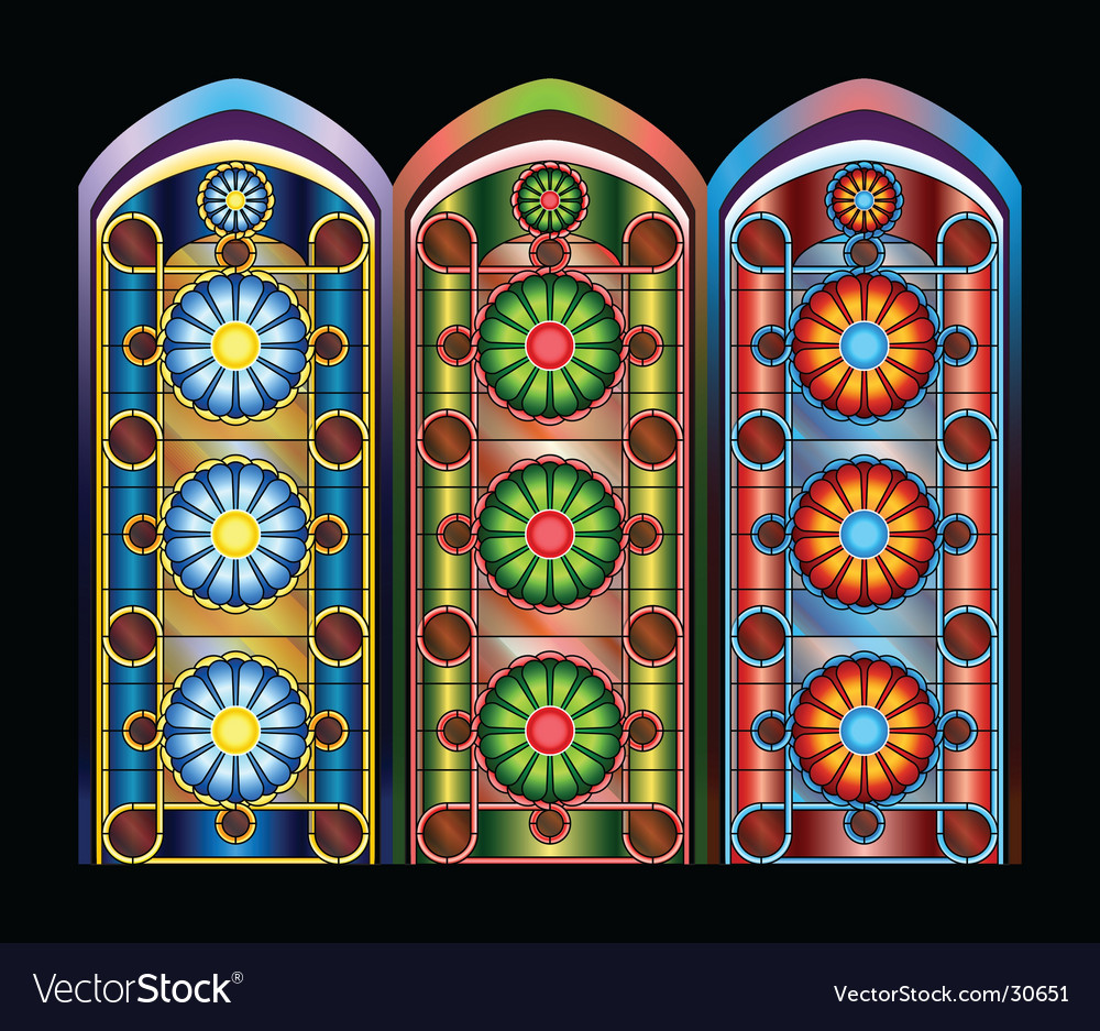stained glass windows royalty free vector image. Black Bedroom Furniture Sets. Home Design Ideas