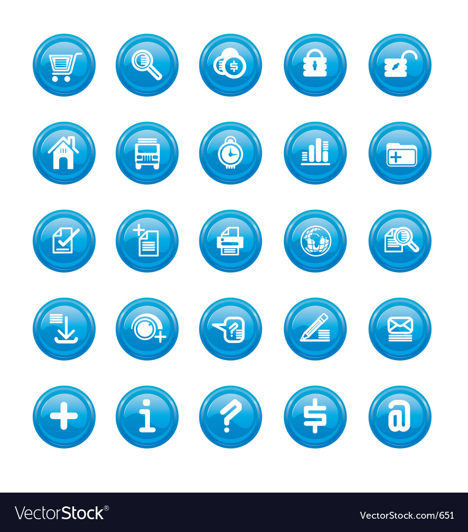 Web icons blue gloss vector image