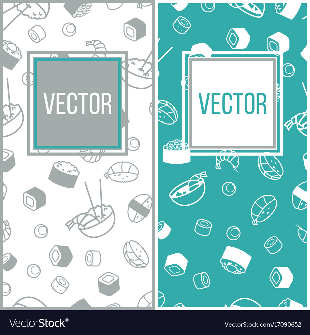 Sushi mini poster set with japanese meal vector image