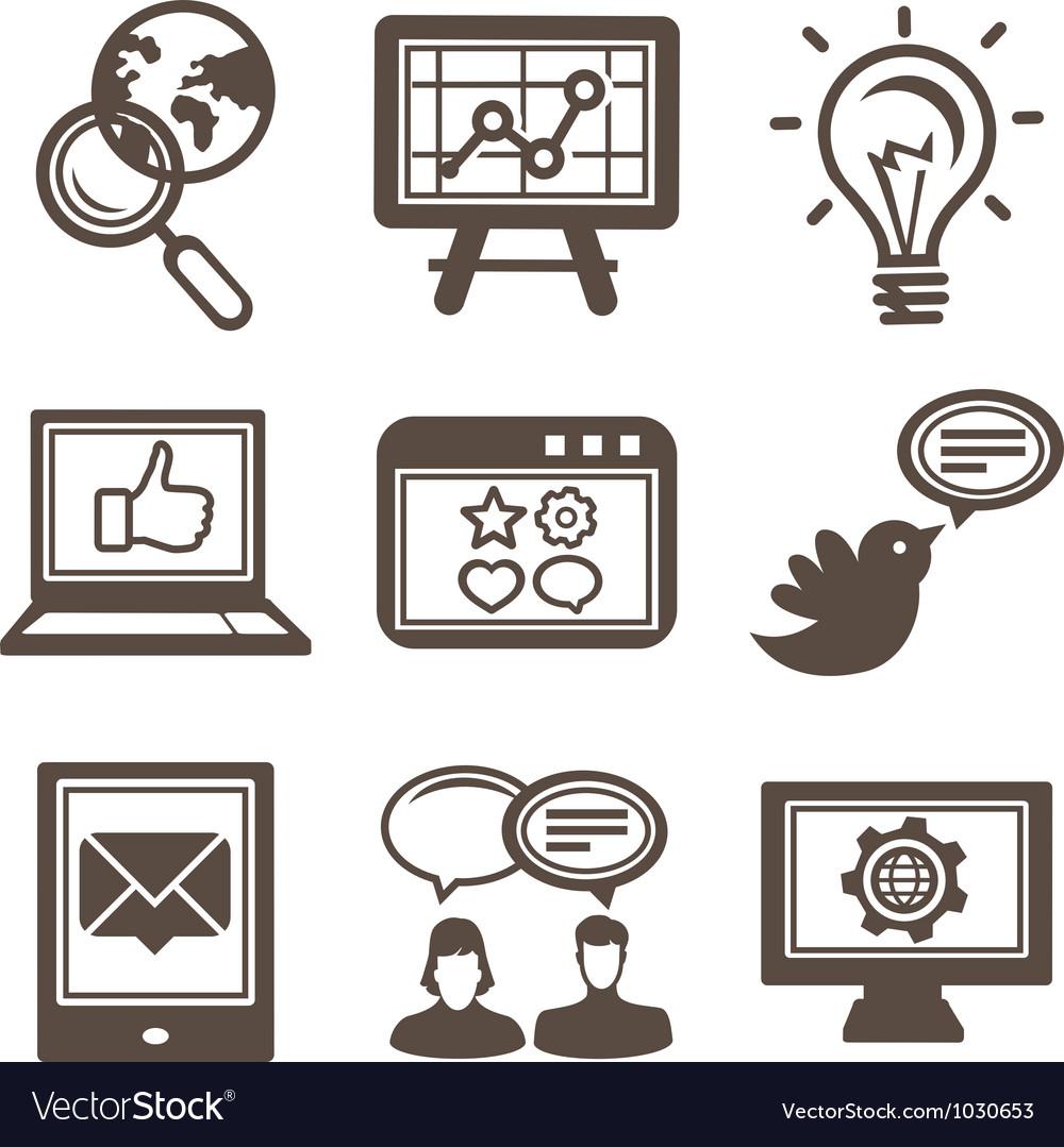 Internet marketing icons vector image