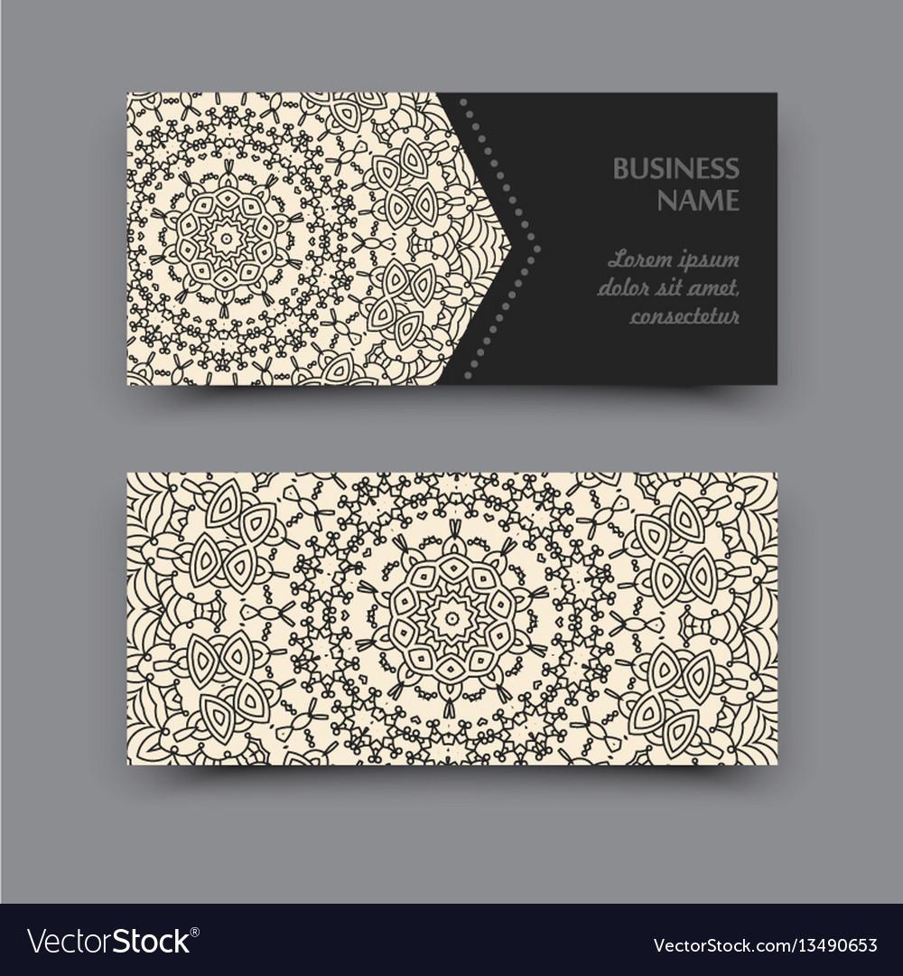 Mandala business card vector image