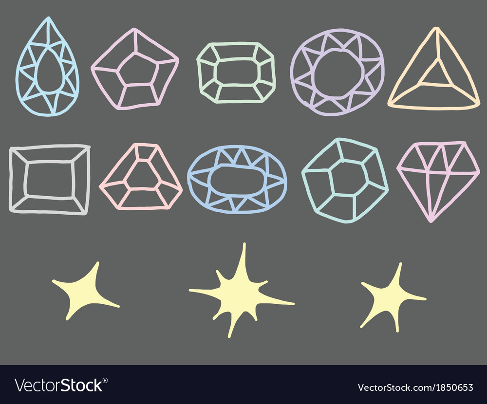 Pastel Drawing of Gem Collection vector image