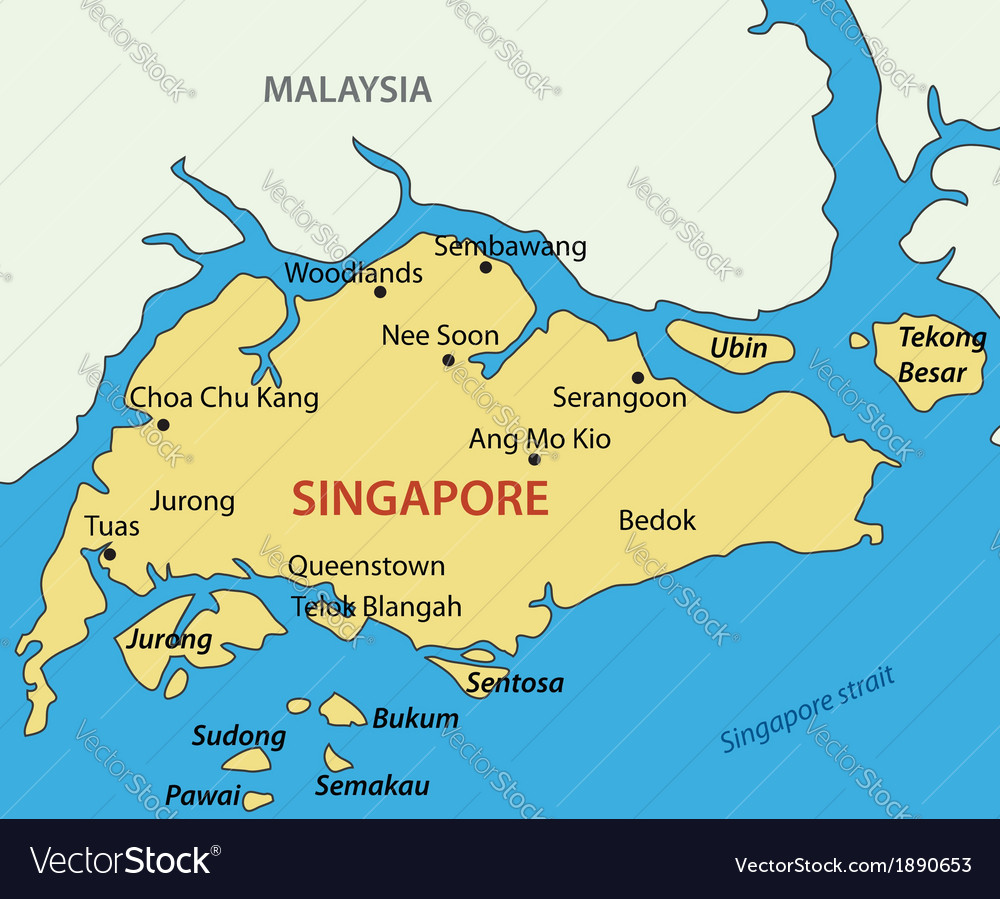 Republic Of Singapore Map Royalty Free Vector Image - Singapore map vector