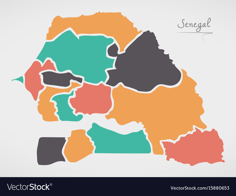 Senegal Map With States And Modern Round Shapes Vector Image - Senegal map vector