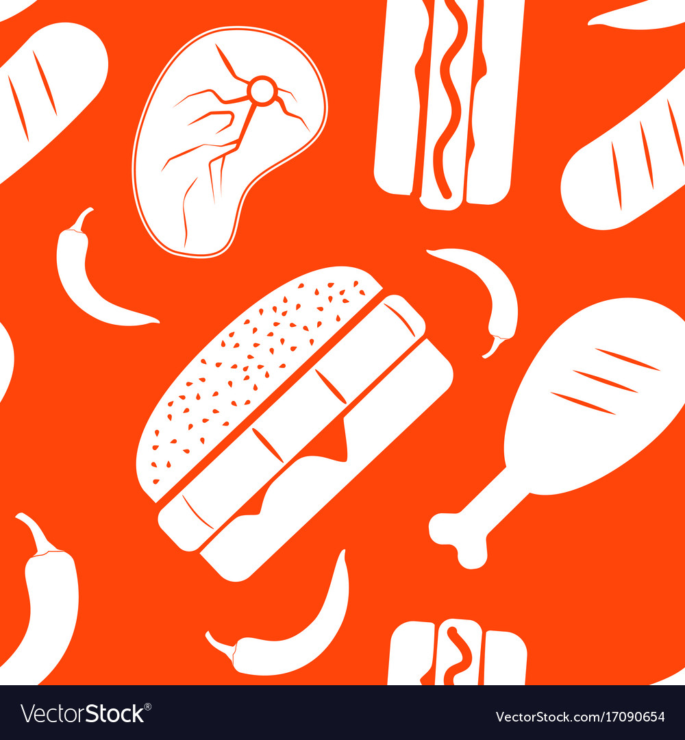 Seamless american fast food pattern vector image