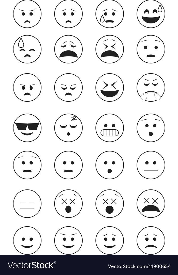 Set of black outline emoticon vector image