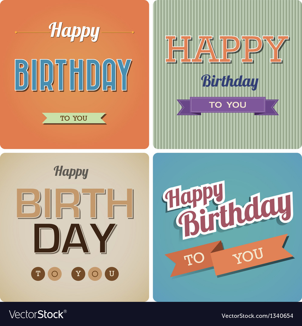 Vintage Happy Birthday Card EPS10 vector image
