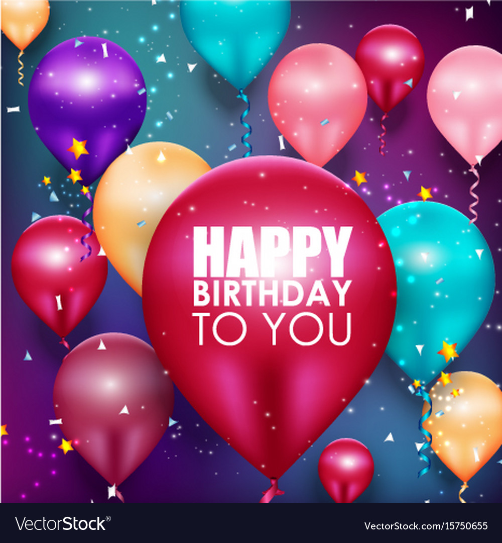 Colorful balloons happy birthday background vector image - Happy birthday balloon images hd ...