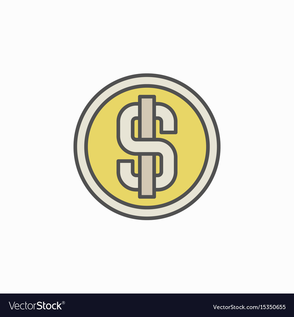 Colorful dollar coin icon vector image