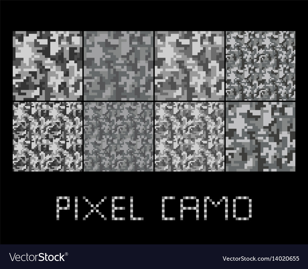 Pixel camo seamless pattern big set urban grey vector image