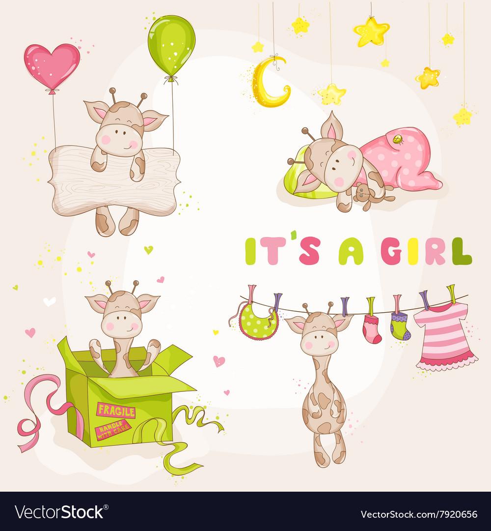 Baby Girl Giraffe Set - Baby Shower Card vector image