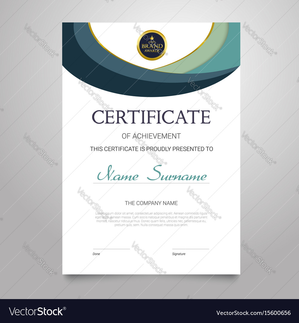 Certificate template vertical elegant royalty free vector certificate template vertical elegant vector image xflitez Image collections