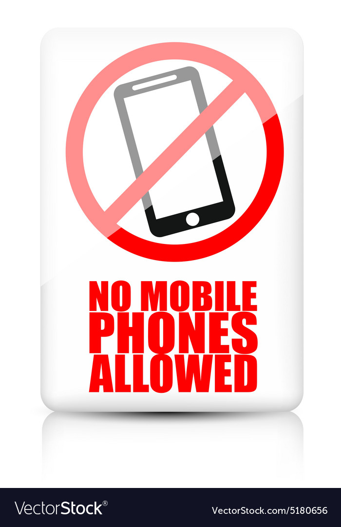 No mobile phone allowed sign vector image