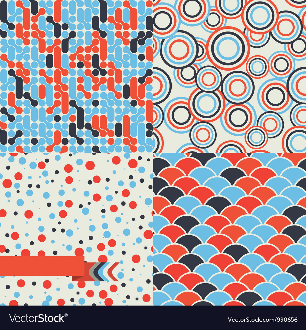 Seamless set of retro pattern Stylish background vector image