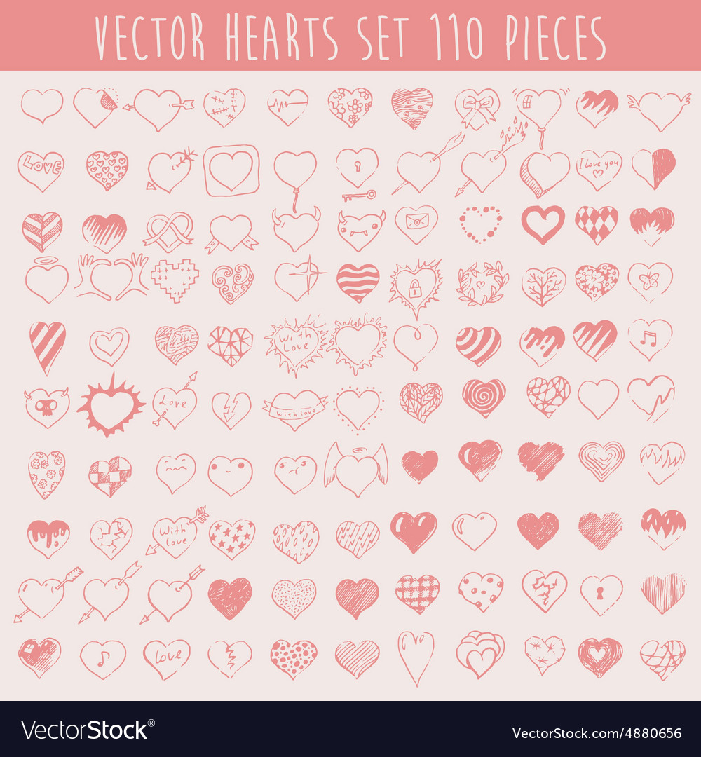 Set Hearts Design Elements Valentine Hand Drawn vector image