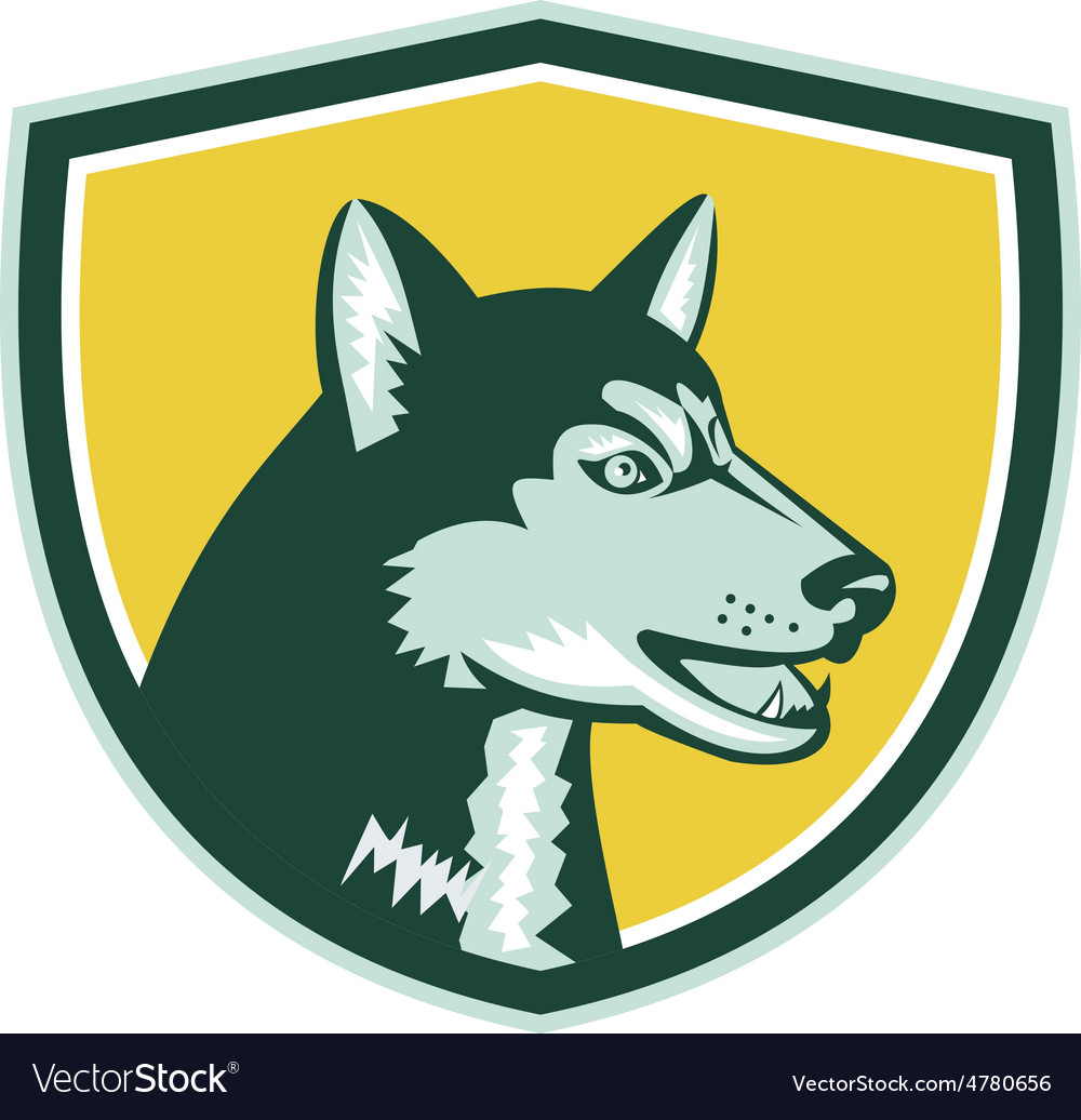 Siberian Husky Dog Head Crest Retro vector image