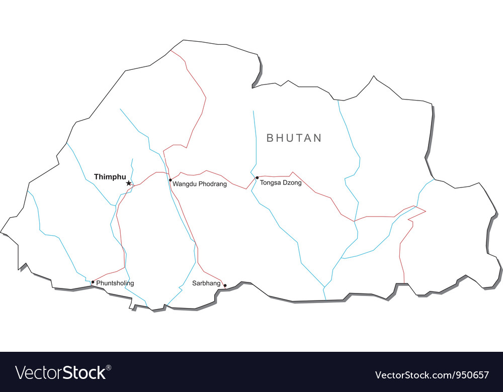 Bhutan Black White Map Royalty Free Vector Image